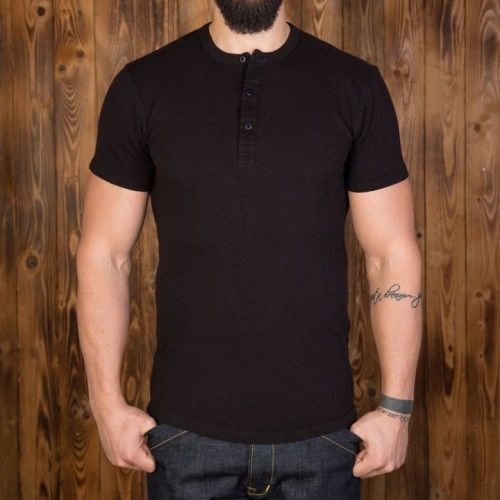 Pike Brothers 1927 Black Short sleeve Henley Shirt  - Kings & Queens
