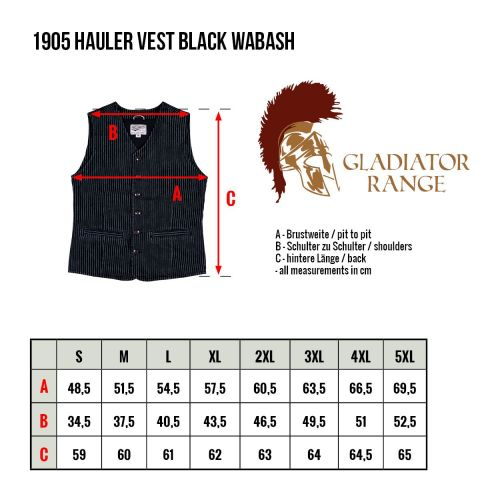 Pike Brothers 1905 Hauler Vest Black Wabash - Kings & Queens