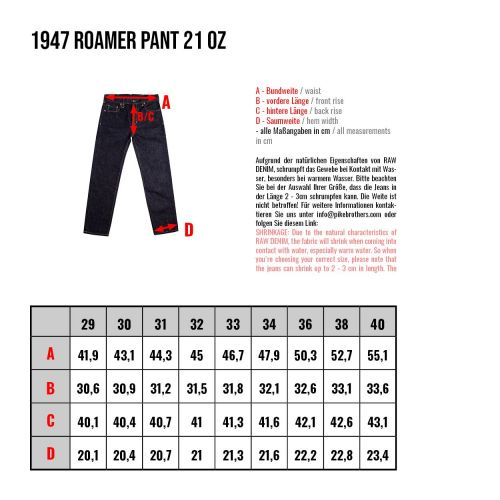 Pike Brothers 1947 Roamer Pant 21oz indigo - Kings & Queens